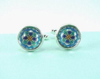SPANISH FLOWERS TILE Silver Cuff Links -- Cheerful silver cuff links in shades of turquoise, white and baby blue, Spanish tile art