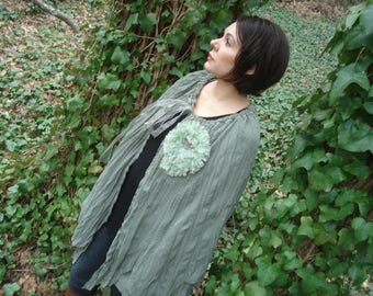 Soft green flowing  Bohemian cape