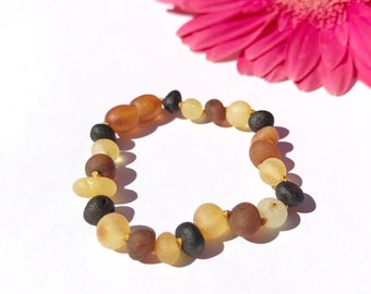 Amber teething anklet for babies. Raw unpolished brown amber anklet