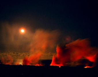 Photo Greeting Card Fine Art Volcano Photography Full Moon Dark Night Peles Moonlit Dance Lava Landscape Nature Photograph by Sue Kohler