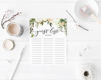 White Floral Guest List, Bridal Shower Guest List, Sign in Sheet, Baby Shower Guest List, Printable Guest List Sheet, INSTANT DOWNLOAD