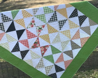 Handmade baby quilt, ready to ship, reduced