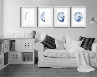 Moon Poster, Full Moon Watercolor Painting, Minimalist Decor, Bedroom Wall Art, Blue Moon,  Indigo Art Print, Lunar Phase Print, Wall Decor