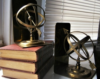Vintage Brass Bookends / Armillary Sphere / Sundial Bookends / Equatorial Sundial Bookends