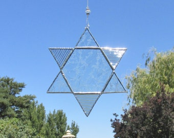Star of David, Stained Glass Suncatcher, Glass Ornament, Hexagon, Hanukkah Gift, Holiday Gift, Holiday Ornament, Window Hanging, Garden Art
