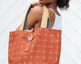 Rust Gold Shopping Tote Bag Burnt Orange with Baroque Medallion Closure Gold Contrast