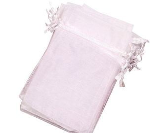 Organza Bags LOT of 25 White Bags for Soap,4 x 6, 5 x 7. Ideal for Bar Soaps, Mermaid, Flowers, Shells,Purchase with your soap orders only.