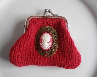 Raspberry coin purse with pink and white cameo