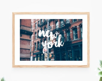 New York City Printable Wall Art Photo Instant Download White Brush Script Wall Decor Modern Wall Art Printable Art Large Poster Digital
