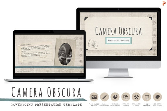 Camera Obscura Powerpoint Templates With Vintage Scrapbook Feel From