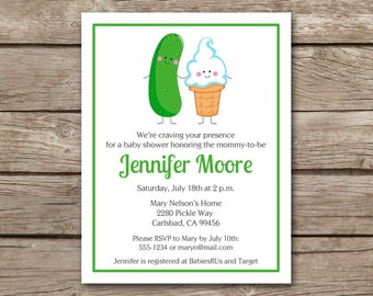 Ice Cream And Pickles Invitation, Pickles And Ice Cream Invitation, Icecream And Pickles, Baby Shower Invitation, PRINTABLE