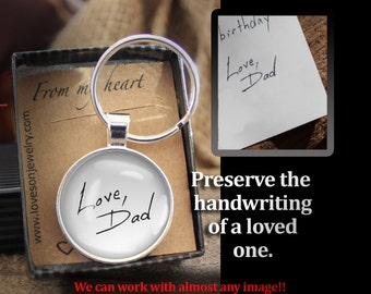 Handwriting Key chain, Custom Made to Order, Child's Handwriting, Loved One's Handwriting, Handwriting Charm,Memorial
