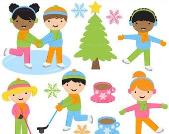 ice skating clipart clip art digital winter snow - Ice Skating Kids Digital Clip Art - BUY 2 GET 2 FREE