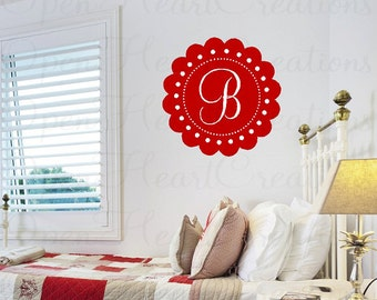 Initial Wall Decal with Scallop Circle Frame Border - Personalized Monogram Wall Decal - Baby Girl Nursery or Teen - 22 IN circle FN0367