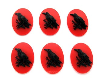 6 Gothic Black on Blood Red Crow Raven Blackbird Black Bird Witch Wiccan Voodoo Goth Emo 25mm x 18mm Resin CAMEOS LOT for Costume Jewelry