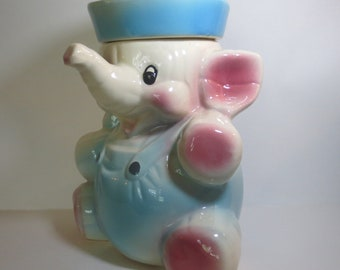 Vintage USA American Bisque Elephant Sailor Cookie Jar