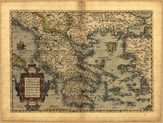 Map of greece from 1500s ancient old world cartography like this item gumiabroncs