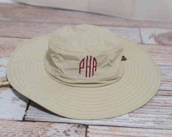 Personalized Bucket Wide Brim Hat with Logo or Initials, Boonie Hat, Sun Hat