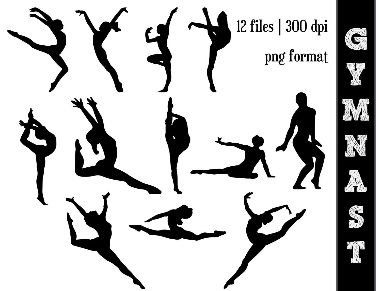 Gymnastics tumbling silhouette