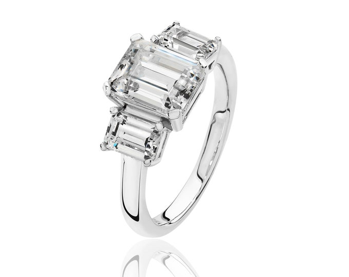 925 Sterling Silver Claw Set Trilogy Emerald Cut Cz Engagment Ring
