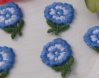 1960s Vintage Flower Applique, Blue White Flower Embroidery Applique, Vintage Embroidered Applique Flower #1176