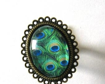 Ring cabochon 18x25mm jewel * Peacock feather *.