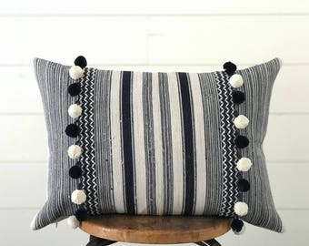Boho Pillow Hmong Indigo Blue & White Stripe Lumbar Pillow w/ Feather Insert Modern Farmhouse Decor . Pompom . Ikat . Batik . Cottage Chic .