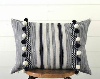 Boho Pillow Hmong Indigo Blue & White Stripe Lumbar Pillow w/ Feather Insert Modern Farmhouse Decor . Pompom . Ikat . Batik . Cottage Chic .