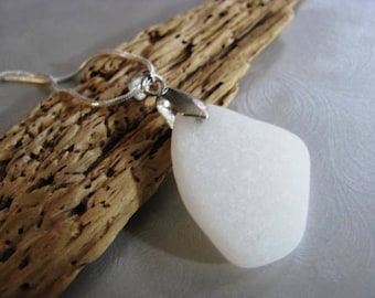 Milk Glass Sea Glass Pendant - Beach Glass Pendant - Opaque White -Very Rare Pendant-Sea Glass Ceramic from Prince Edward Island Ocean Gifts