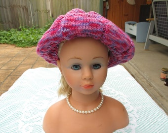 Handmade Knitted Pink Variegated Beret for Women from 8 ply wool