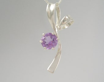 Lavender Amethyst Flower Stem Necklace on SS