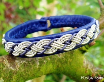 VALHAL Swedish Blue Leather Bracelet Scandinavian Sami Style Jewelry Handcrafted in silksoft Reindeer Leather with Braided Pewter Thread