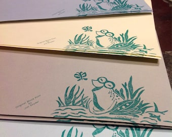 Packs of 10 Vintage, hand-made, block printed notecards with envelopes