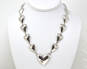 Vintage Taxco Mexico Sterling Silver Heart Motif Necklace - 925 - Mexican - 589111982