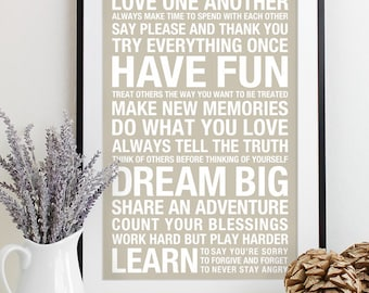 House Rules Sign, Subway Art Print, Signs with Family Rules Sign, Family Rule Art, Playroom Rules, Typography Poster