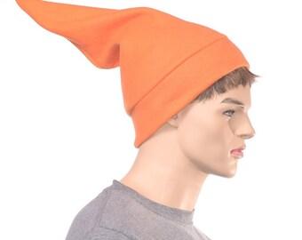 Mens Orange Elf Hat Fleece Pointed Beanie Football Game Cap Orange Dwarf Hat Hunter Orange Sock Hat