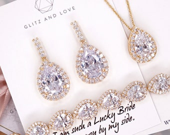 Yellow Gold Wedding Bridesmaid Gift Bridal Earrings Necklace Bracelet Jewelry Set Clear White Cubic Zirconia Teardrop Studs E335 B85 N221