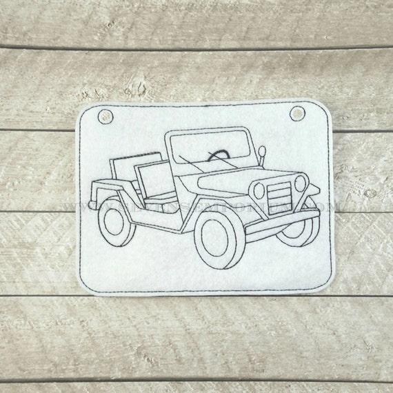 Vehículo Jeep militar en los diseños de aro Doodle-It para colorear ...