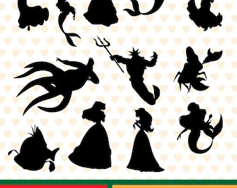 The little mermaid silhouettes sale, eps, svg, png and jpg files high resolution CL-SP-043