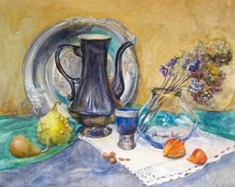 Original still life Watercolor painting Still life art Gift for her Gift mom house Still life painting Original painting Gift idea
