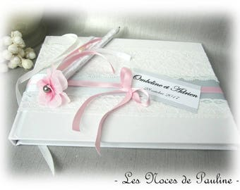 Pink and gray lace PM Wedding guest book and pen personalized Photo Album