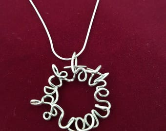 To The Moon & Back . Solid Sterling Silver Hand finished  Hand Writing Pendant