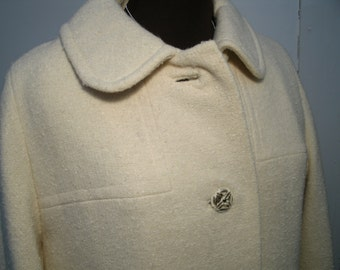 Winter White Wool 1950's 1960's Full Length Coat Petal Collar Loose Weave Fabric Metal Buttons Crestwick Fashions Women's Size Medium Large
