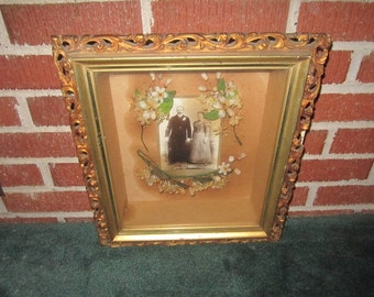 Antique 19c Victorian Wood and Gesso Shadow Box Frame with Wedding Photo