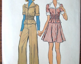 Simplicity 6164 - Size 9/10 TeenVintage Sewing Pattern - Short Flare Skirt - Wide Collar Shirt - Gathered Waist - 1973 Cuffed Pants