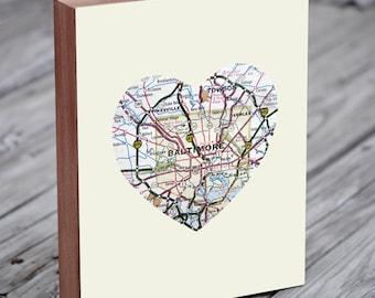 Baltimore - Baltimore Art - Baltimore Map - Baltimore Map Art - City Heart Map - Wood Block Art Print
