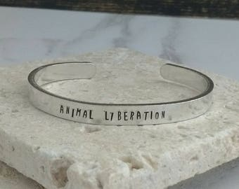 Animal liberation fun font bracelet - adjustable - handstamped - aluminium, copper, brass or sterling silver