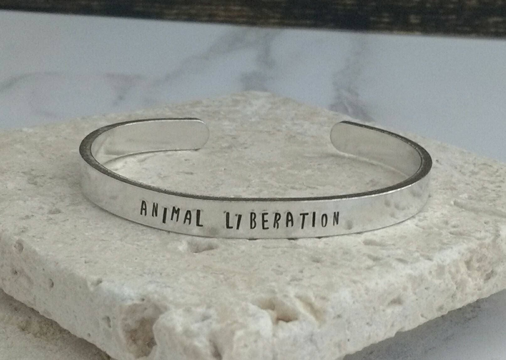 Animal liberation fun font bracelet - adjustable - handstamped - aluminium, copper, brass or sterling silver