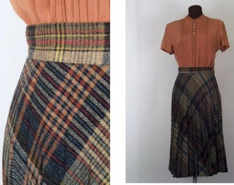 Vintage 70's Skirt Plaid Wool Accordion Pleated A Line Midi Size S / Small