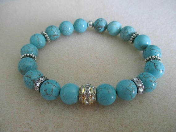 Magnesite Stretch Bracelet With Crystal Accent Beads B616174